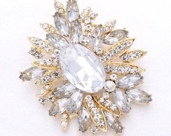 Rhinestone Gold Brooch Wedding Bridal Dress Sash Broach Cake Bouquet Brooches Decorations DIY Jewelry Crafts Crystal Gold Broach
