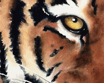 Tiger Art Print - Watercolor Painting - Signed by Artist DJ Rogers - Wildlife - Wall Decor