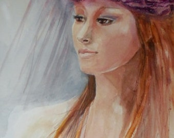 Woman watercolor, original watercolor, Click to see full photograph.