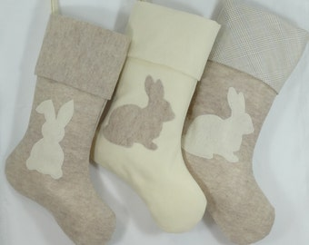Pet Christmas Stocking Rabbit Bunny Hedgehog Vogue 8.5x20'' Pinkismart plaid ivory sandstone felt beige pastel colors
