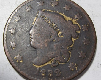 1832 early U.S. Large Cent coin grades VG (#E428c)