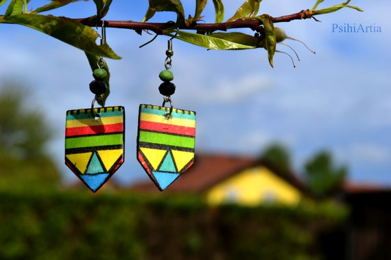 Afrocentric earrings Decoupage earrings Summer earrings Wooden earrings Wood jewelry Afrocentric jewelry African jewelry Colorful earrings