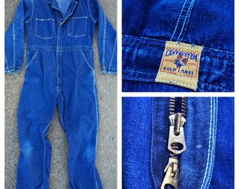 Vintage 1950s Can't Bust Em Indigo Denim Union Made Coverall's-One of a kind! Lee Levi's Selvedge