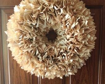 "Handmade Gorgeous 18"" Vintage Paper Wreath"