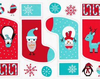 SALE Winter Jingle 4 Christmas Stocking Fabric Panel Ann Kelle Robert Kaufman