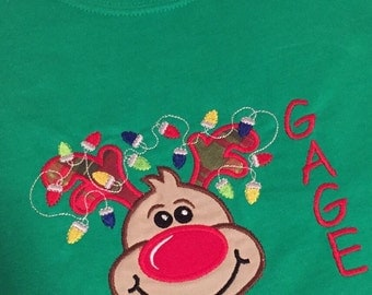 Personalized Embroidered Appliqued Christmas Holiday Reindeer Shirt Onsie