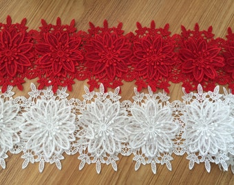 3D Venice lace Trim Exquisite Rose Flower Embroidered  Floral Lace 4.72 Inches Wide 1 Yard YL292