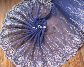 2 Yards Lace Trim Floral Embroidered Blue Tulle Lace 8.46 Inches Wide High Quality YL278