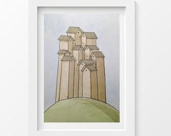 A high village. A4 print.