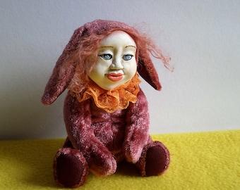 Teddy doll ,15 cm .Bunny Handmade OOAK