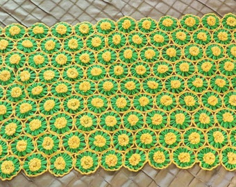 Daisy Crochet Afghan Lap Blanket, Vintage Flowered Knit Blanket, 60 x 24 green and yellow flowered throw, 1970s bedding