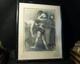 Back Stage by Raphael Soyer - 1935 print, Signed REPRO, framed under glass.