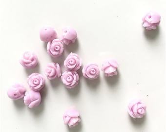 20pc 8mm 3d Flower Beads/Coral Rose Flower 8mm 3D Cabochon beads Lavender Purple