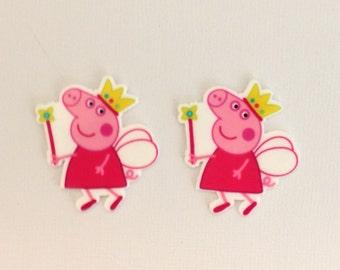 Peppa Pig Planar Resin Set of 2 - Peppa Pig Hair Bow Center - Peppa Pig Flat Back Resin - Peppa Pig Embellishment