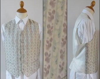 Mans cream pink green vest waistcoat mans wedding party vest waistcoat size M/L