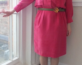 Sale! C&A Bright Pink Vintage Silky Cape Dress/1980s/Padded Shoulders/3/4 Sleeves/Half Lined/Elasticated Waist