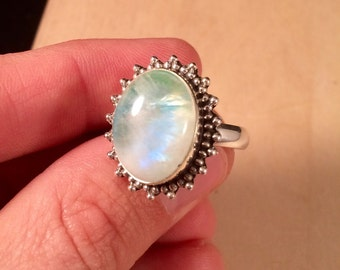 Sterling Silver Green Moonstone Sun Ring Size 8