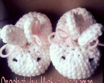 Crochet bunny slippers.