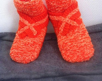 Knitted slippers orange / orange knitted slippers