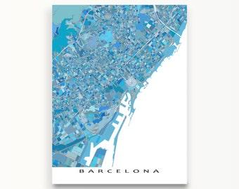 Barcelona Map, Barcelona Spain, Barcelona Art Print,  Spanish Travel Maps