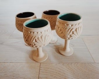 Vintage Etched Goblets, Clay Bohemian Art Goblets, Circa 1970s, Ceramic Collectibles