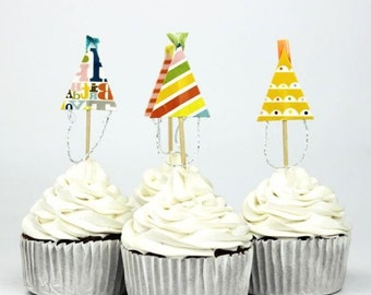 12 Set Birthday Party Hat Cupcake, Cake, Toppers, Picks, Party Picks