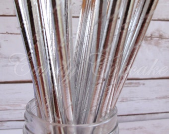 SOLID SILVER METALLIC 25 Paper Straws, Birthday, Party, Wedding, Paper Straws