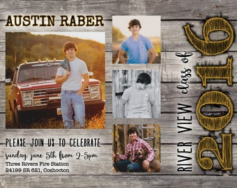 Rustic Graduation Party Invitation DIGITAL FILE