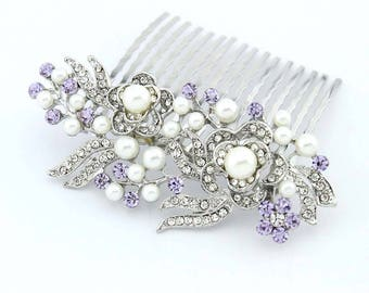 Lavender Bridal Comb, Lavender Hair Pin, Light Purple Hair Accessory, Lavender Bridesmaid Comb, Lavender Hair Jewelry, Purple Hair Combs
