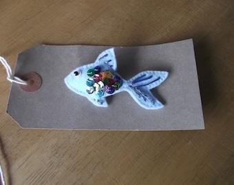 Felt goldfish brooch blue rainbow