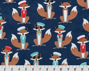 Minky Cuddle in Sailor Fox print in Steel and Scarlet on Navy from Shannon Fabric