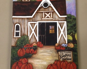 Fall pumpkins canvas painting