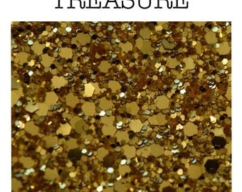 Chunky textured gold glitter with gold backing A4