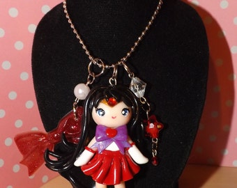"Handmade Kawaii Chibi Polymer Charm Sailor Mars 24"" Necklace"