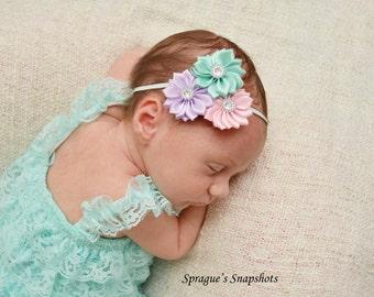 Satin cluster headband, Aqua Pink lavender satin headband,skinny elastic headband, newborn headband, take me home, baby headband