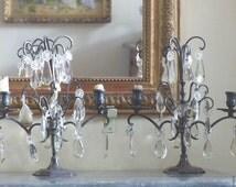 Crystal girandoles pair of french girandoles shabby chic decor