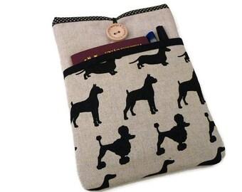 iPad Pro  9.7 Sleeve Dogs / Linen iPad Air 2 Sleeve case / Fabric iPad Air pouch / Padded ipad Case, Dogs Pocket