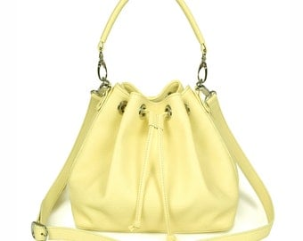 Leather Crossbody Bag, Yellow Leather Shoulder Bag, Women's Leather Cross body Bag, Leather bag KF-532