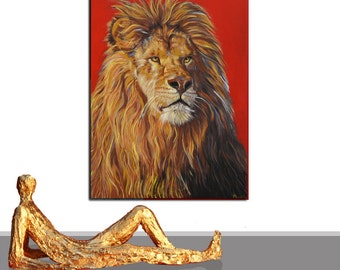 PAINTING LION ANIMAL modern abstract original 3D frame contemporary art , shipment included