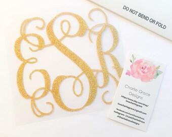 Gold Glitter Monogram Decal, Adhesive Glitter Monogram, Glitter Monogram Sticker, Monogram Decal, Glitter Adhesive Vinyl