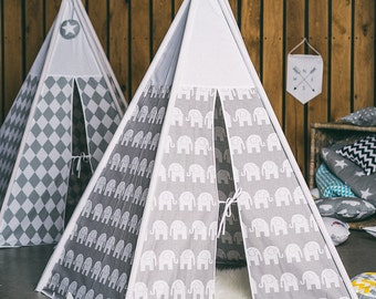 Teepee grey elephants