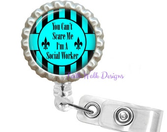 Retractable Id Badge Holder - Can't Scare Me - I'm A Social Worker Retractable Reel Id Badge Holder Id Badge Reel - BC Blue