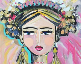 """Warrior Girl Print woman art impressionist modern abstract girl paper or canvas """"Joy"""""""