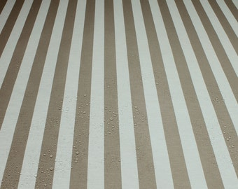 Fabric cotton acryl block stripes beige white cagoule coated table cloth