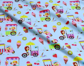 Fabric for children cotton elastane Single jersey light blue ice ice-cream ice-cream girl