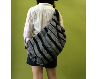 Shoulder Bag Crossbody Nepal Bag Sling Bag Hippie Hobo Bag Handmade bag Purse Cross Body Thai bag /  Black-color (B 6)
