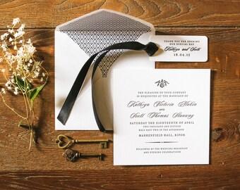 Letterpress Wedding Invitations, Amelie sample
