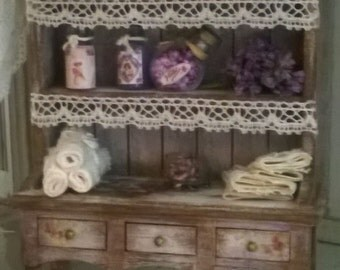 Miniature Dollhouse Style Shabby Chic SHELF-Shelf style Shabby Chic
