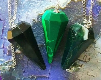 3 Eight Sided Dowsing PENDULUMS, Black Tourmaline, Malachite, Bloodstone,  and 3 Velvet Storage Pouches, Divination