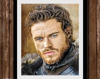 Robb Stark Digital Painting Portrait, Game of Thrones